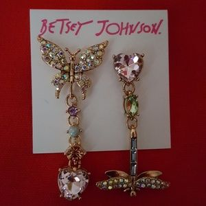 BETSEY JOHNSON BUTTERFLY DRAGONFLY DROP EARRINGS